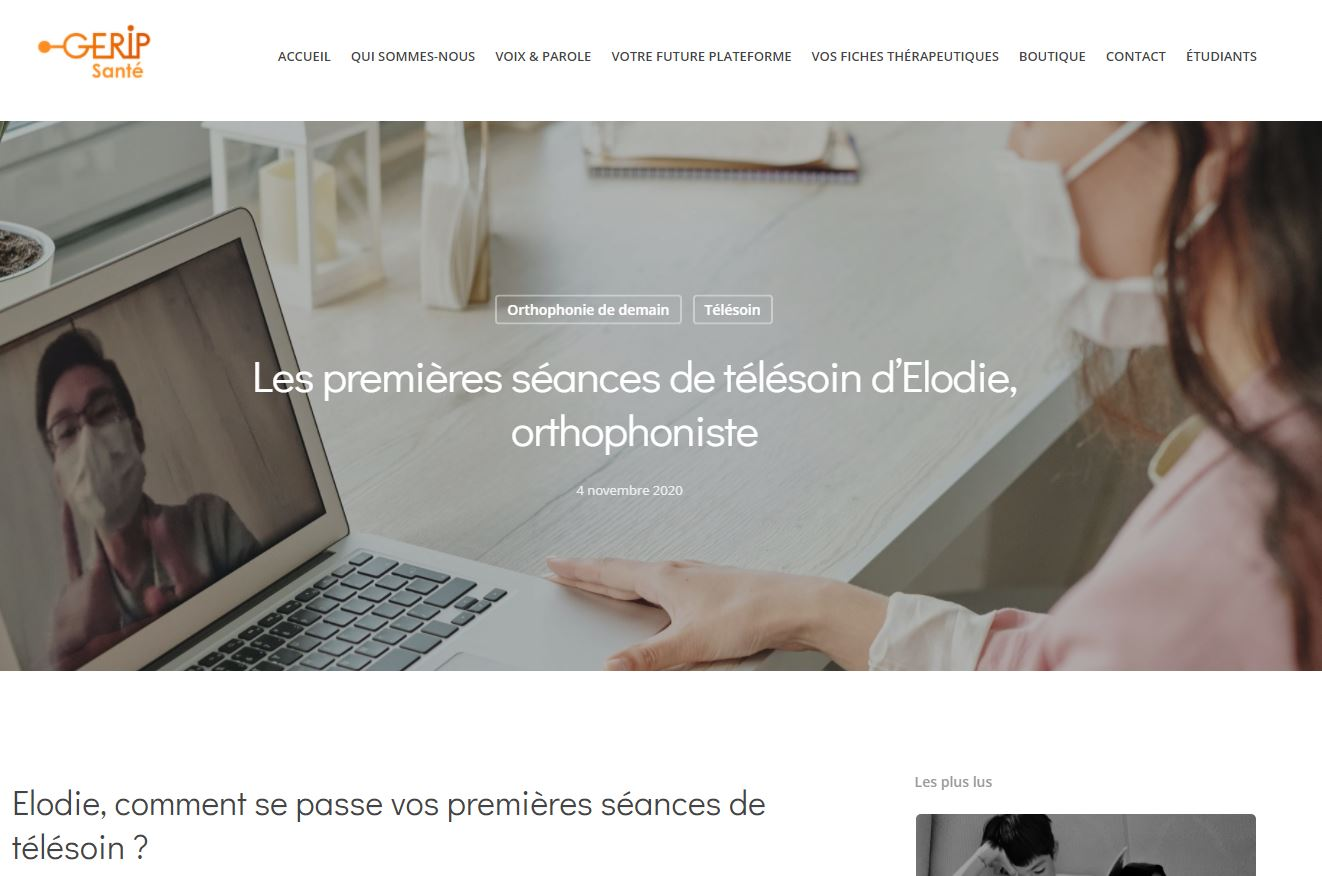 Les premières séances de télésoin d'Elodie, orthophoniste
